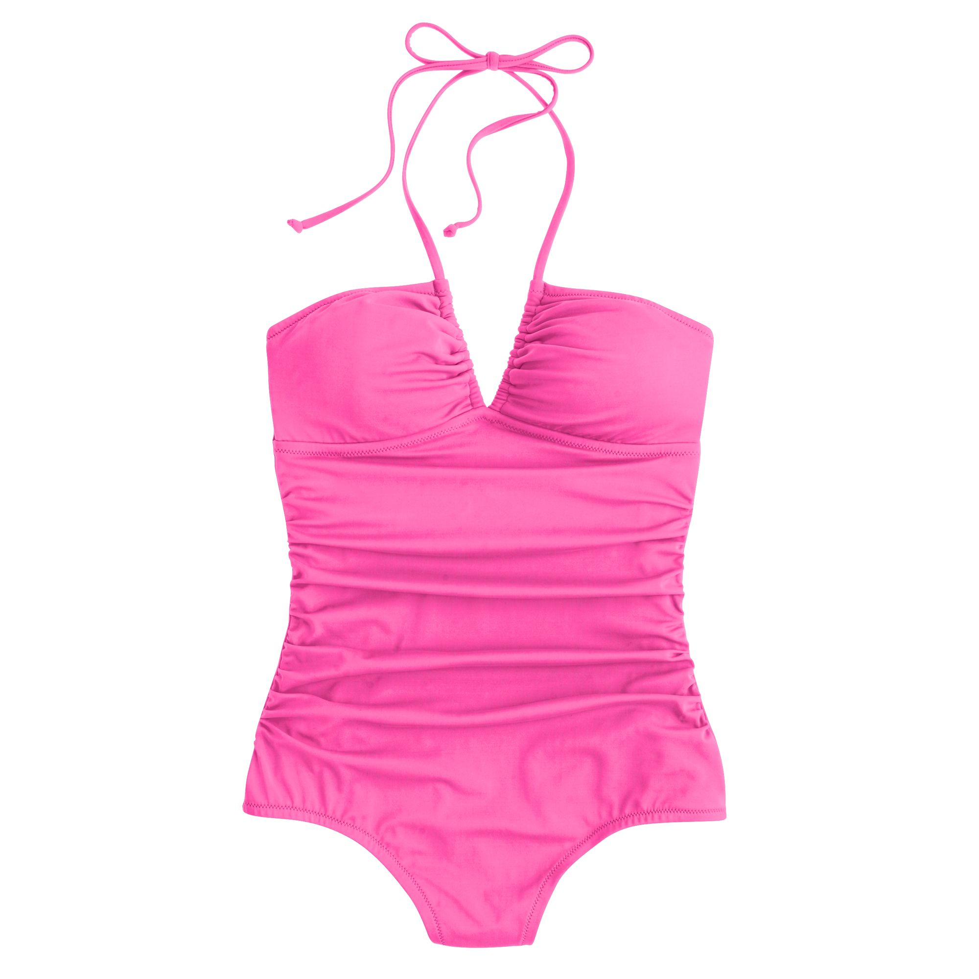 neon ruched halter one piece swimsuit in pink neon pink lyst. Black Bedroom Furniture Sets. Home Design Ideas