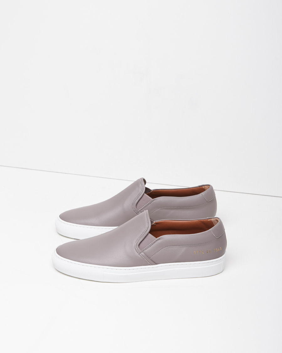 Lyst - Common Projects Waxed Suede Slip-On Sneakers in Gray d19dd6698