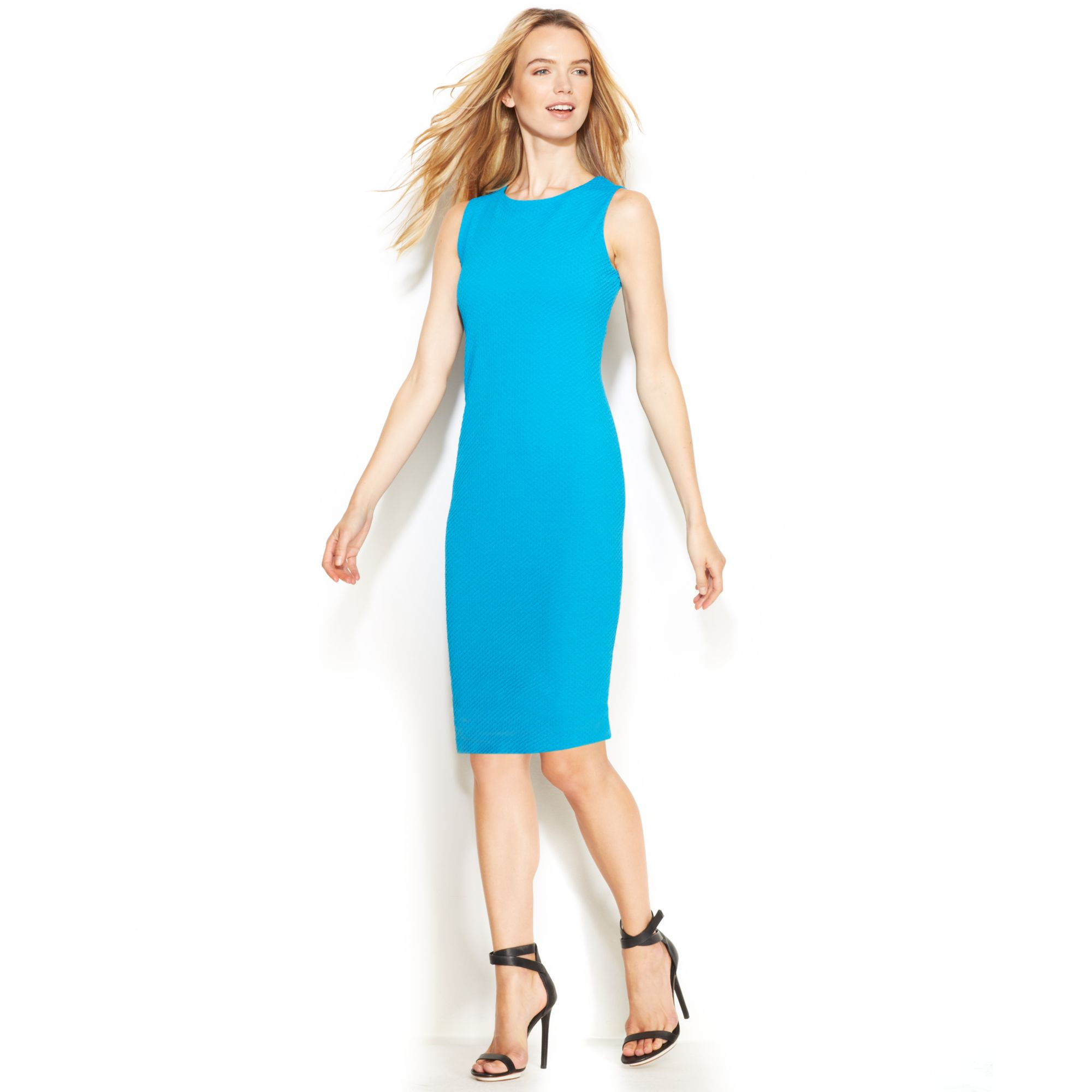 Lyst - Calvin Klein Sleeveless Textured Sheath Dress in Blue
