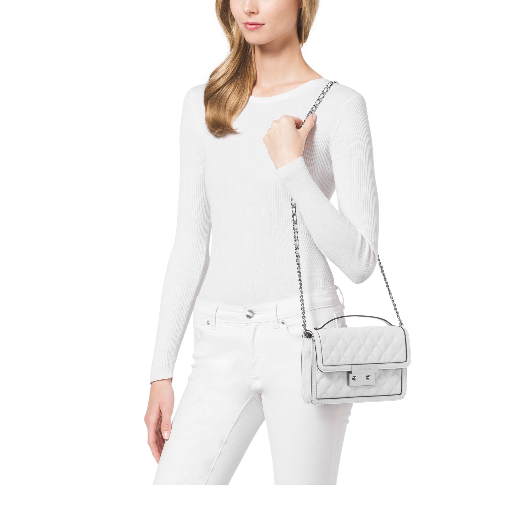 e02b6be685e3 Lyst - Michael Kors Sloan Small Quilted-leather Crossbody in White