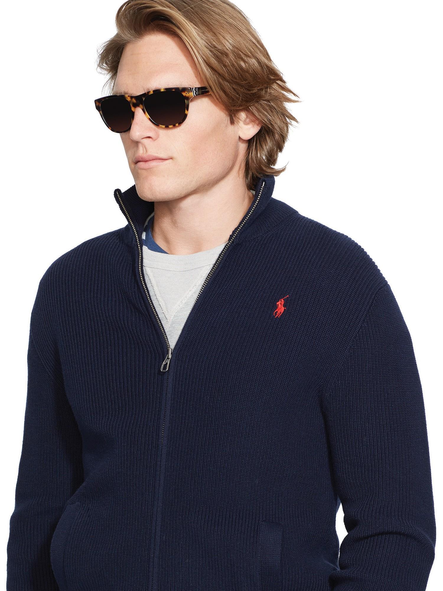 3b8ce97275d Polo Ralph Lauren Full Zip Cotton Cardigan in Blue for Men - Lyst
