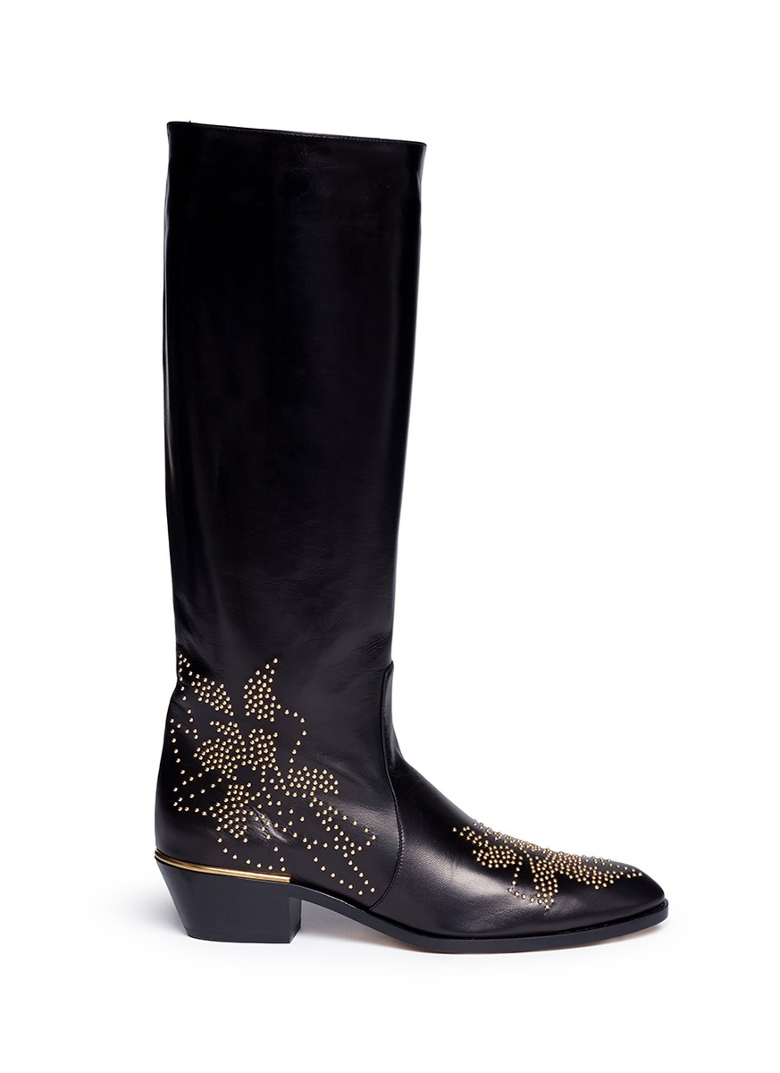 chlo susanna leather knee high boots in metallic lyst. Black Bedroom Furniture Sets. Home Design Ideas