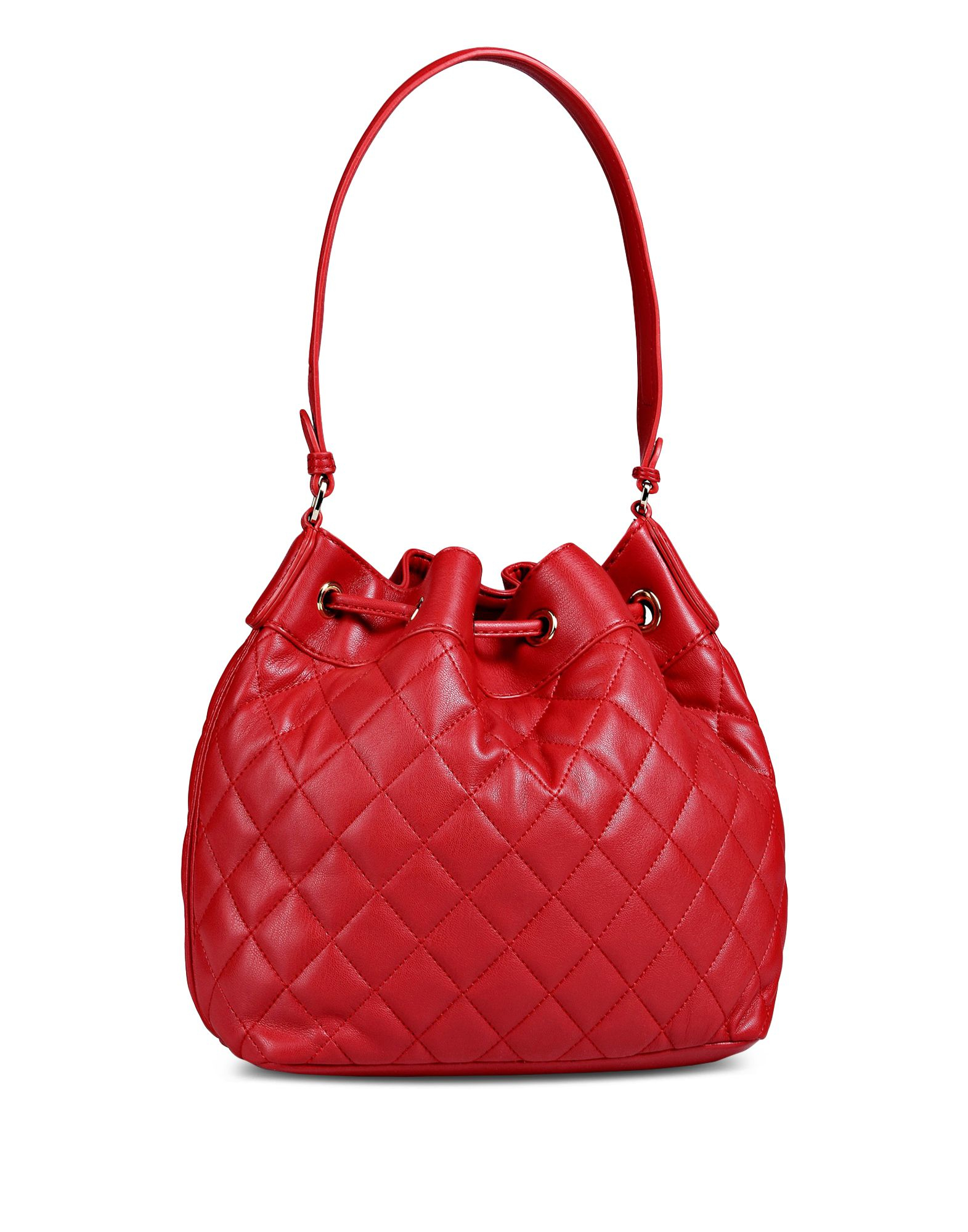 Lyst Love Moschino Quilted Bucket Bag In Red