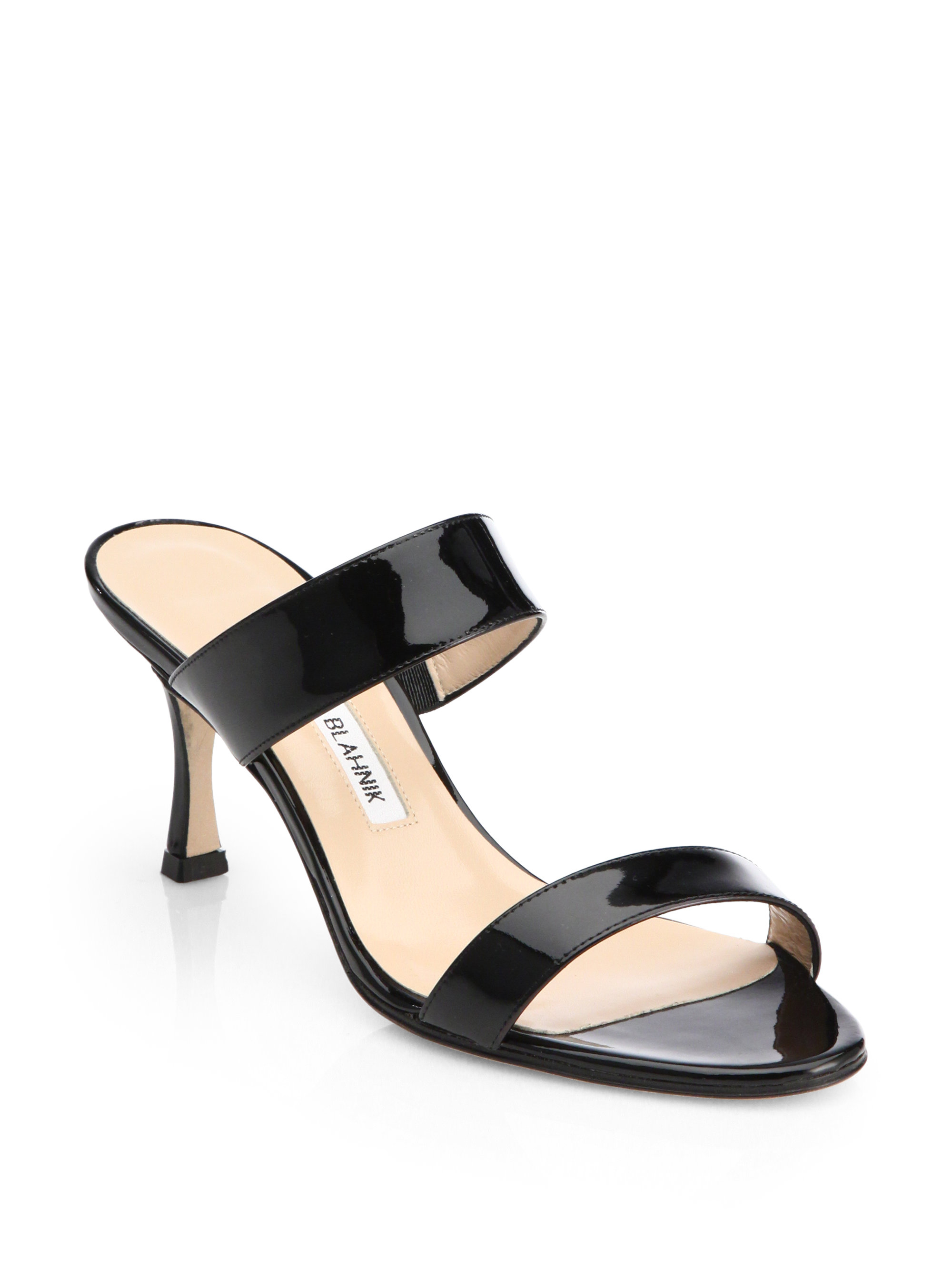 Manolo Blahnik Patent Leather Double Banded Sandals In