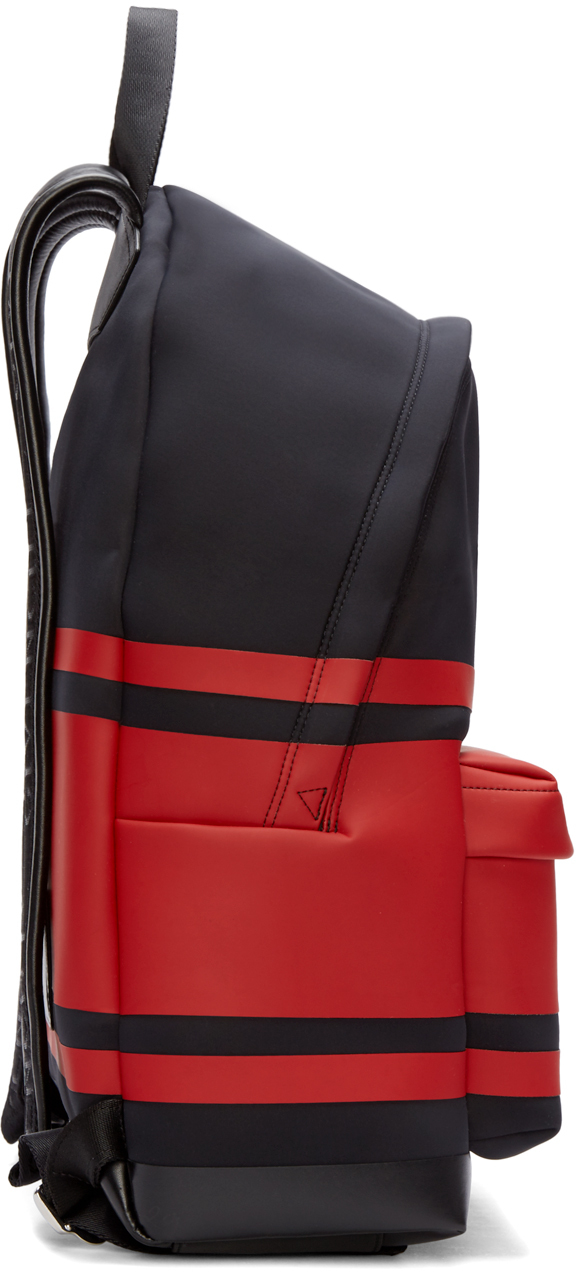 3c44e35c50 Givenchy Black And Red Striped Neoprene Backpack in Black - Lyst