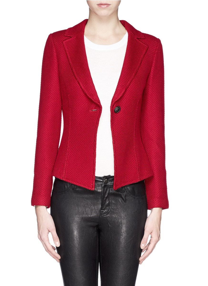 lyst st john diamond knit blazer in red. Black Bedroom Furniture Sets. Home Design Ideas