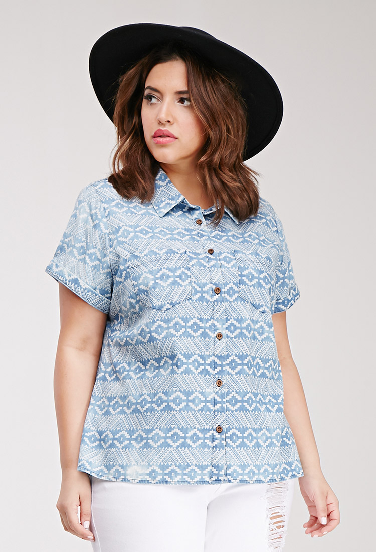 Forever 21 Plus Size Print Chambray Shirt In Blue Lyst