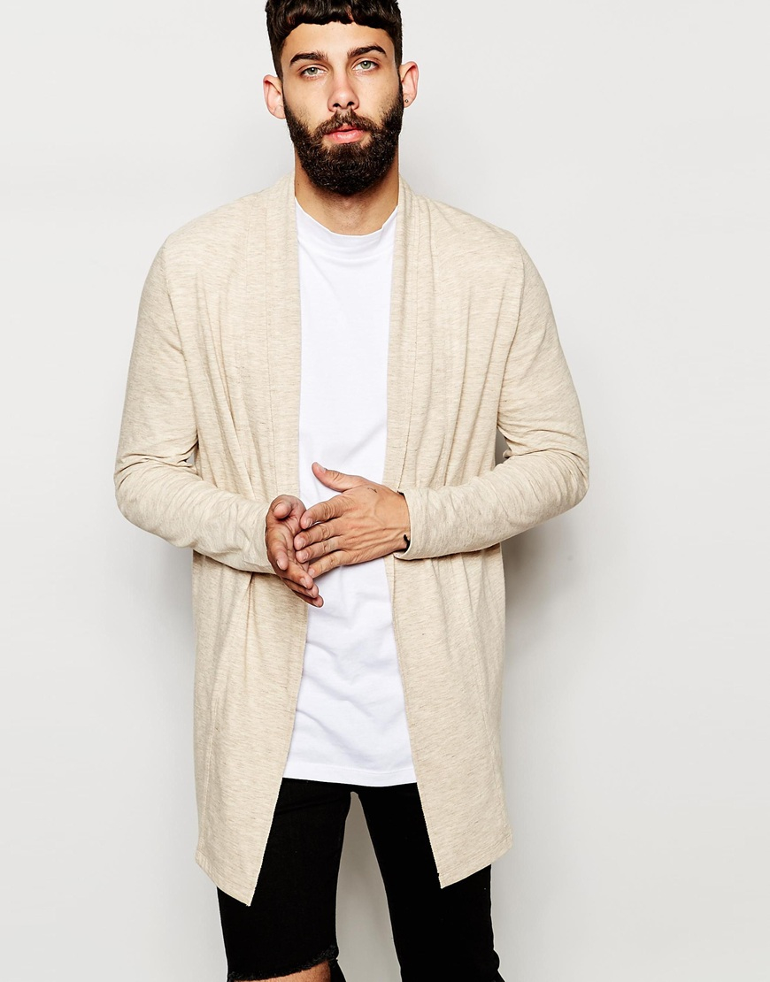 Asos Super Longline Cardigan In Jersey With Shawl Neck in Natural ...
