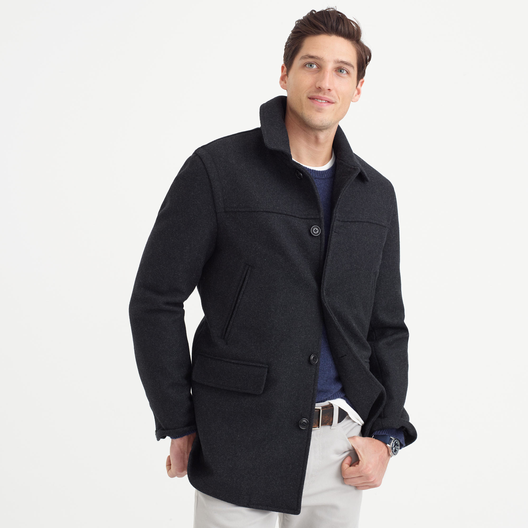 J Crew University Coat With Thinsulate In Gray For Men Lyst