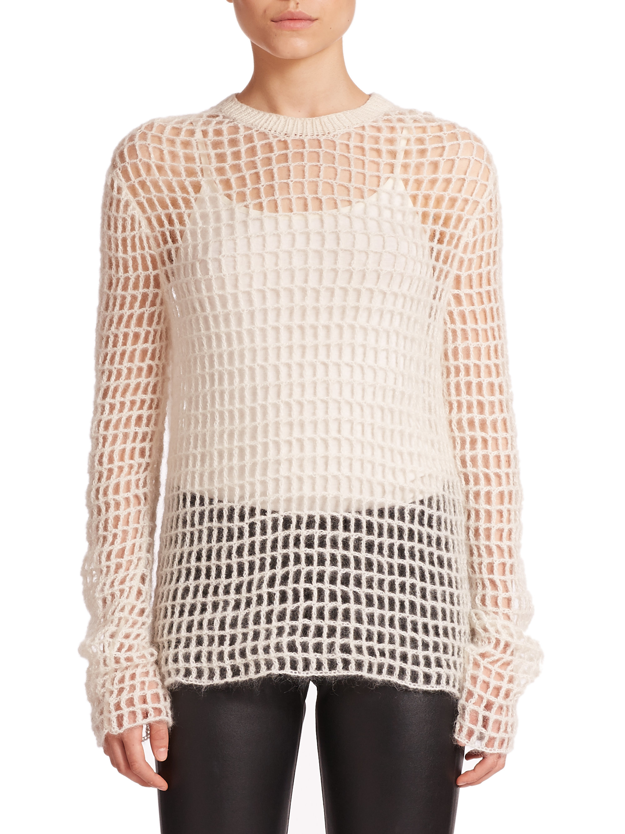 763ee4ca6bf184 Lyst - Helmut Lang Hand-knit Crochet Sweater in White