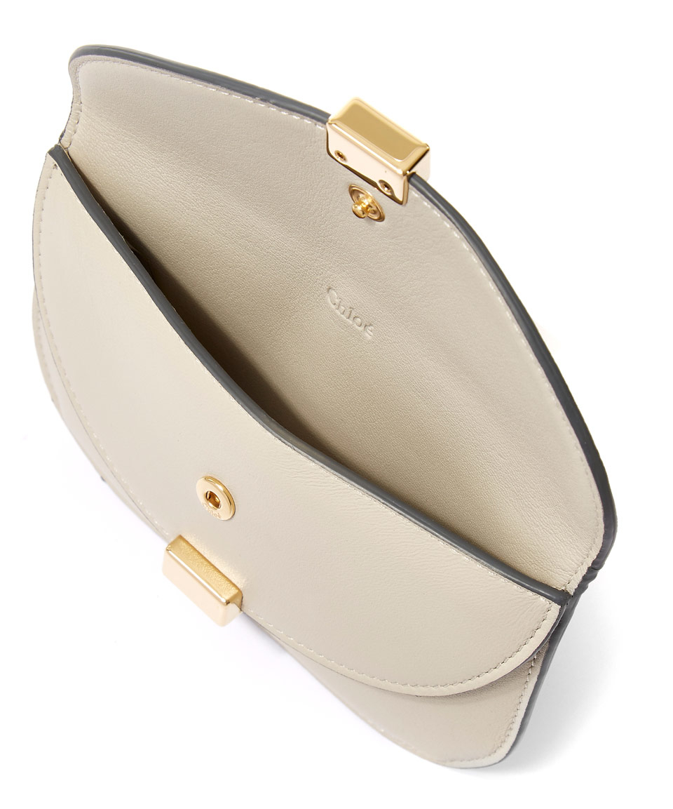chlo grey georgia double flap card holder purse in gray lyst - Chloe Card Holder