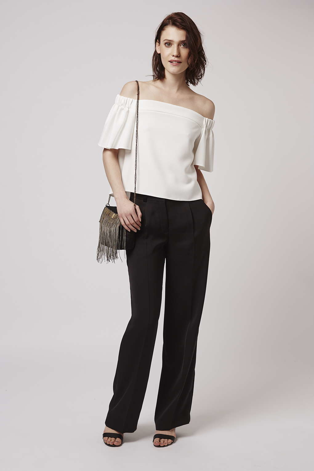 b01b7603abd13 Lyst - TOPSHOP Structured Bardot Top in White