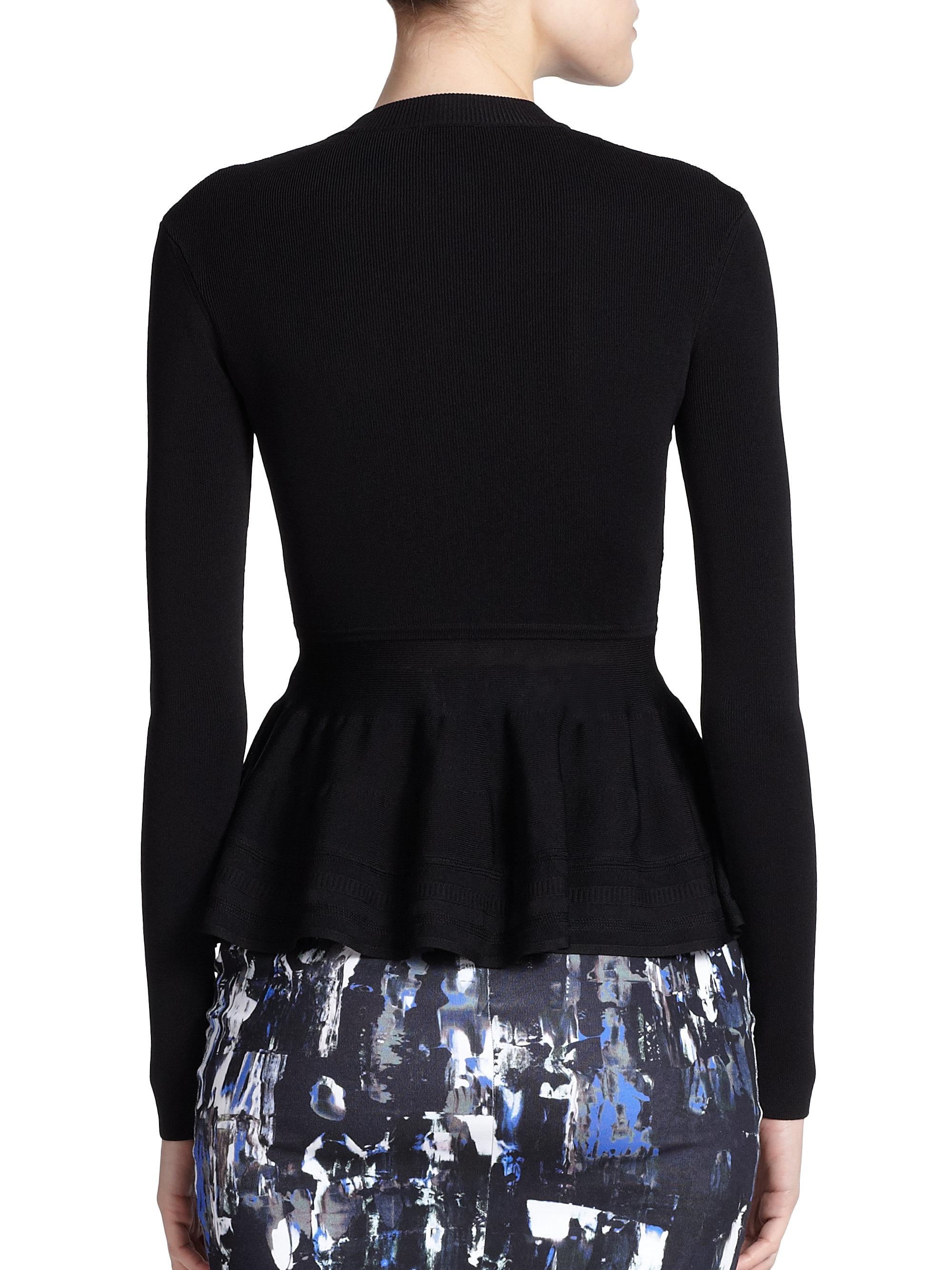 Mcq Knit Peplum Jacket in Black Lyst