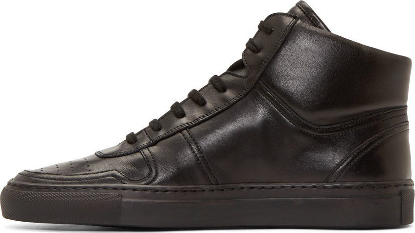 7e63b8fa4fb5 Lyst - Common Projects Black Leather Basketball High Tops in Black ...