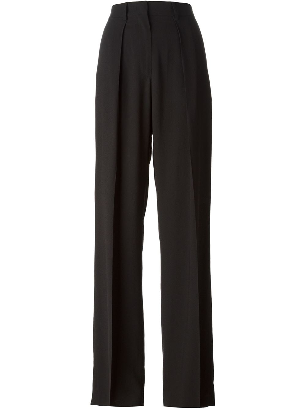 Wide Leg Trousers Take your style cues from the runways and opt for a pair of wide-leg trousers this season. From voluminous high-waisted palazzo pants to casual-cool culottes and petite lengths, our silhouettes will look great with both heels and flats.