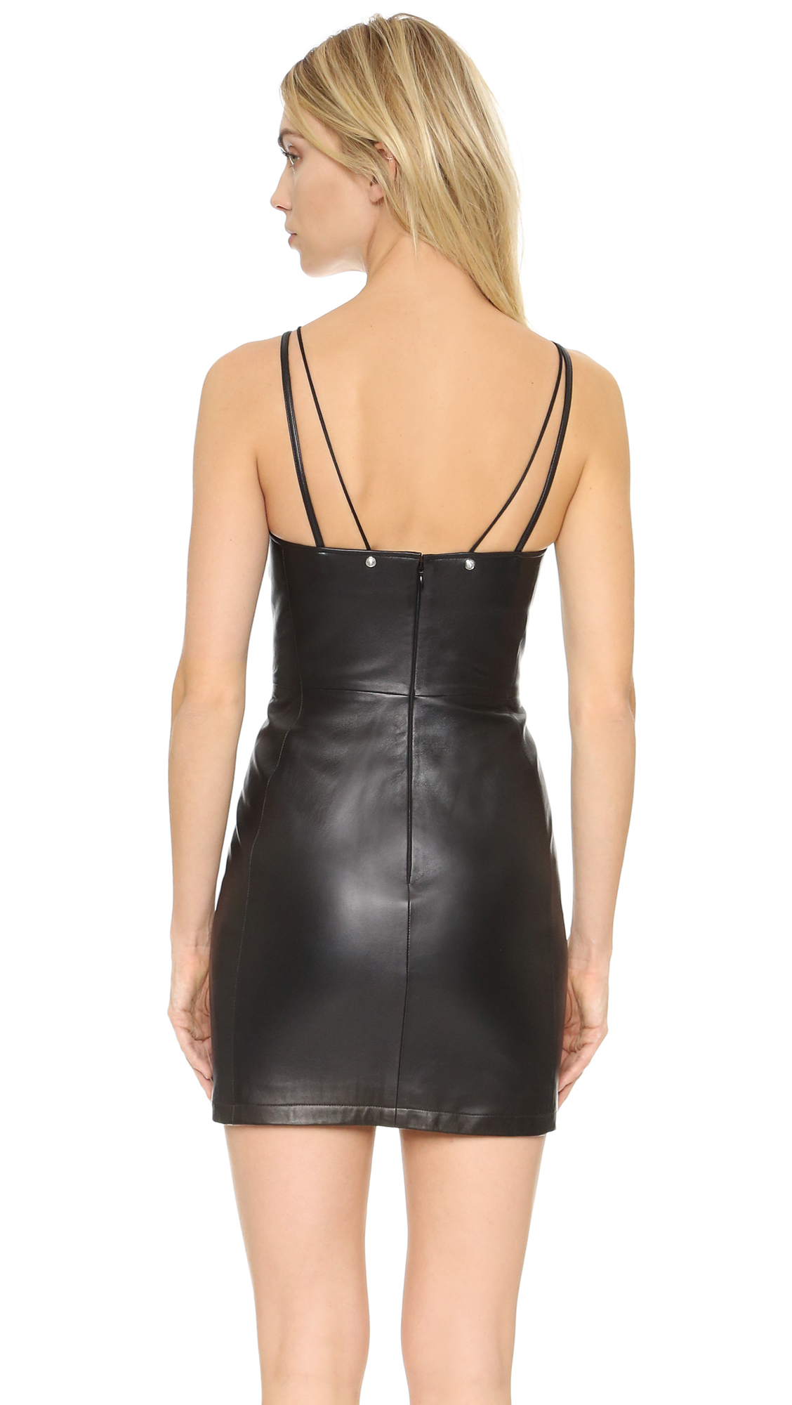 Versus Leather Mini Dress In Black Lyst