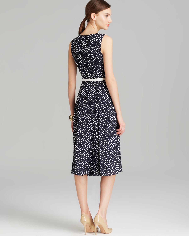 Anne Klein Dress Sleeveless Polka Dot Belted Swing In