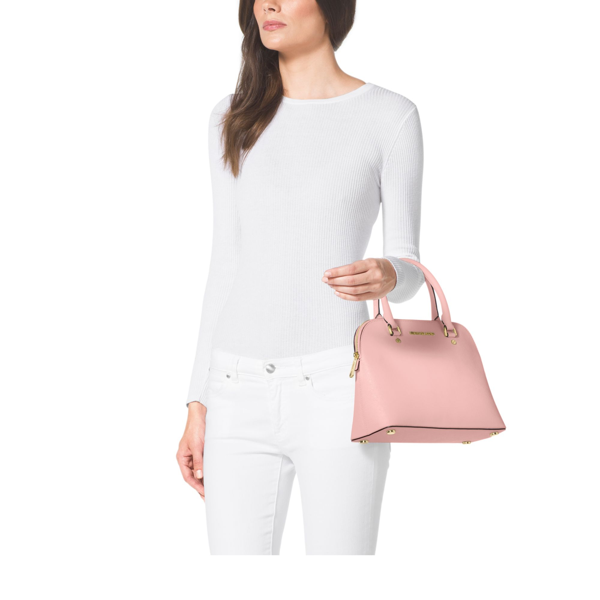 ad8e6282845c Lyst - Michael Kors Cindy Medium Saffiano Leather Satchel in Pink