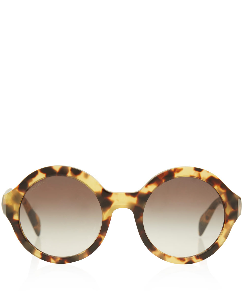 8925c32e2e6 ... italy lyst prada tortoiseshell oversized round frame acetate sunglasses  6b485 5b7bf