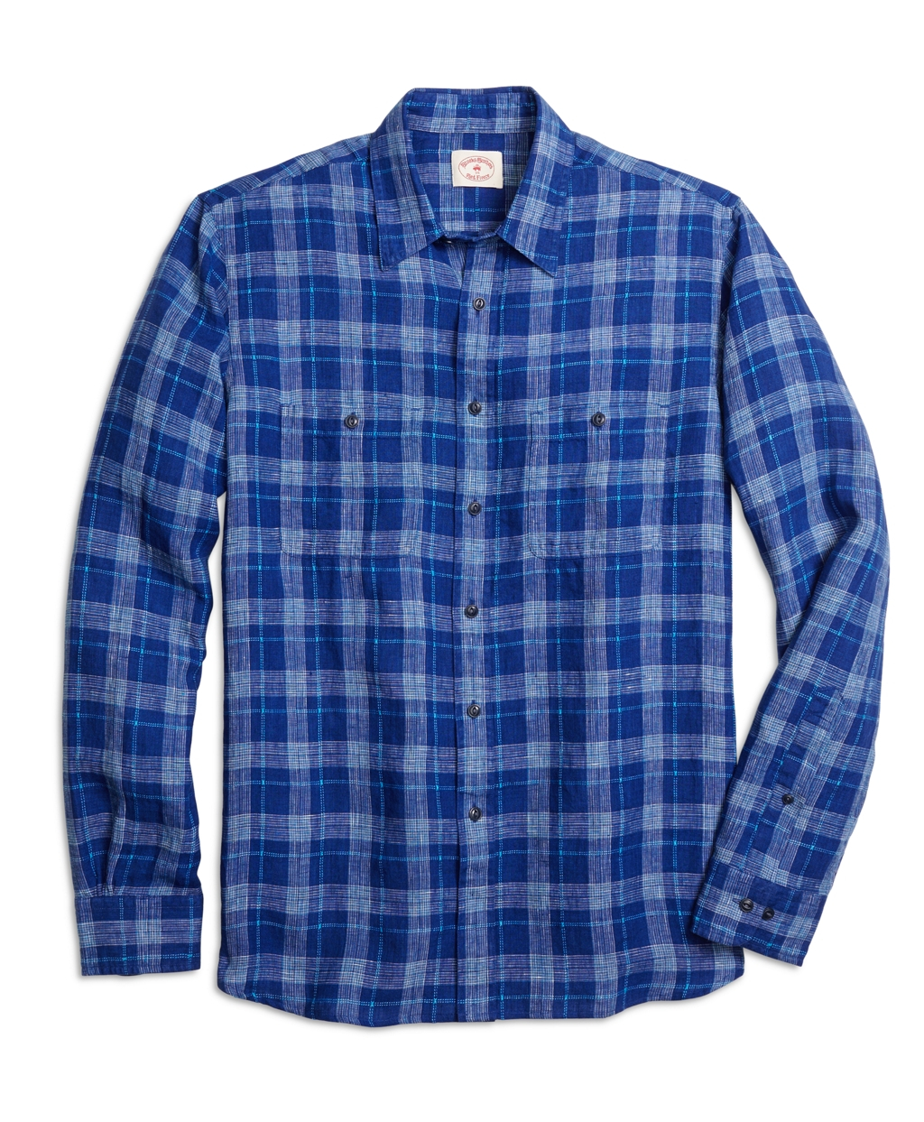 Brooks brothers non iron slim fit navy check sport shirt for Brooks brothers non iron shirts review