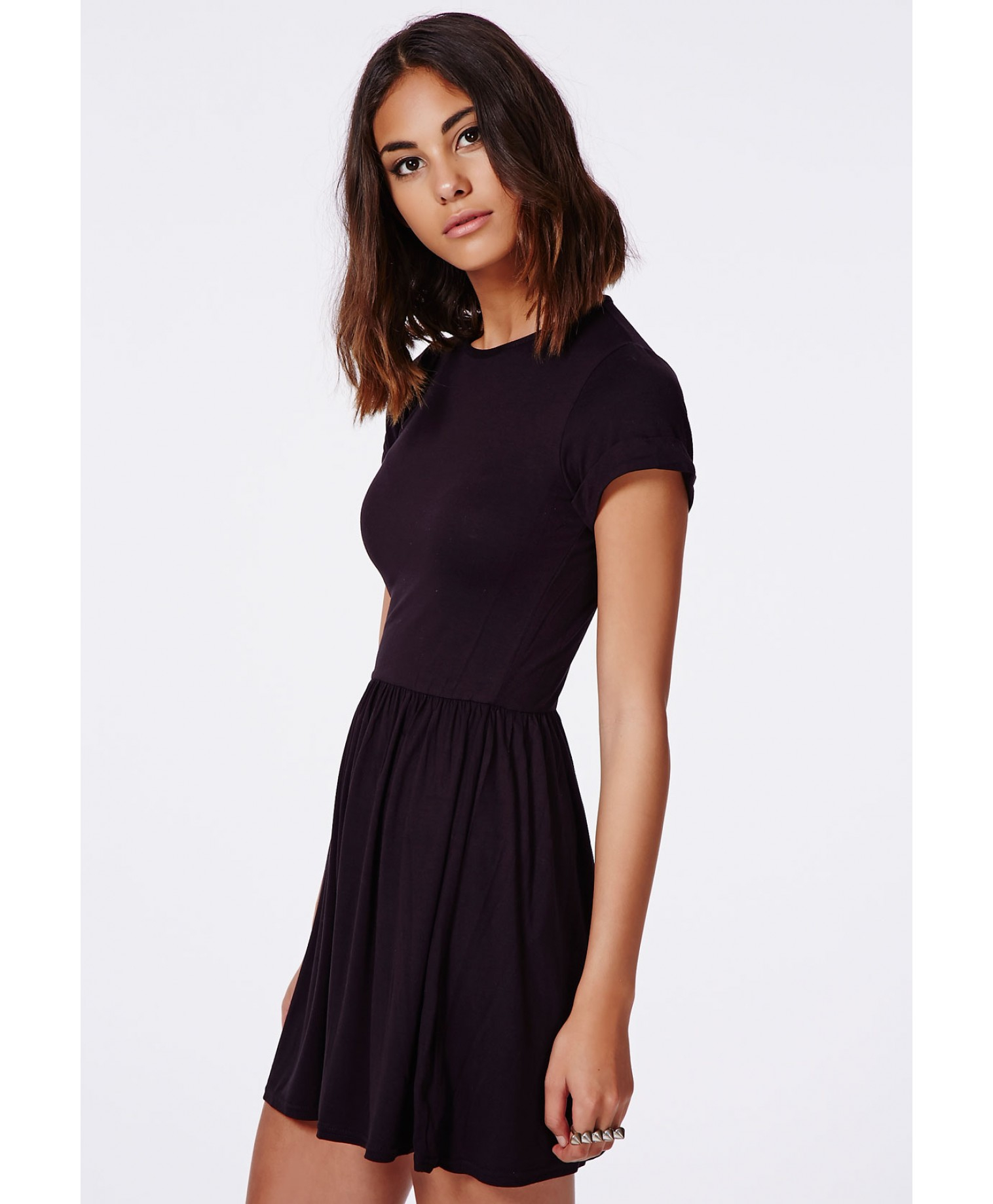14f50a0ce276 Missguided Aliveta T-Shirt Skater Dress In Black in Black - Lyst