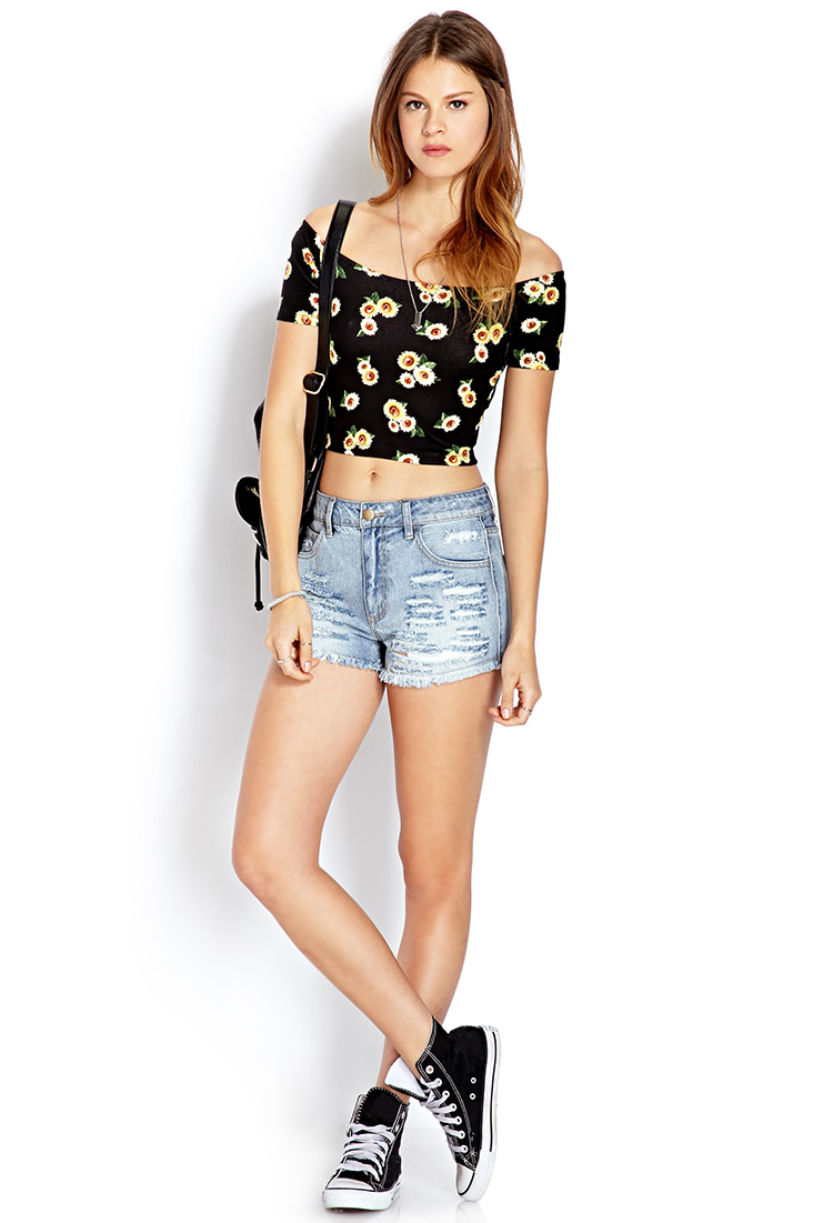 Forever 21 Denim Darling Ripped Shorts in Blue | Lyst