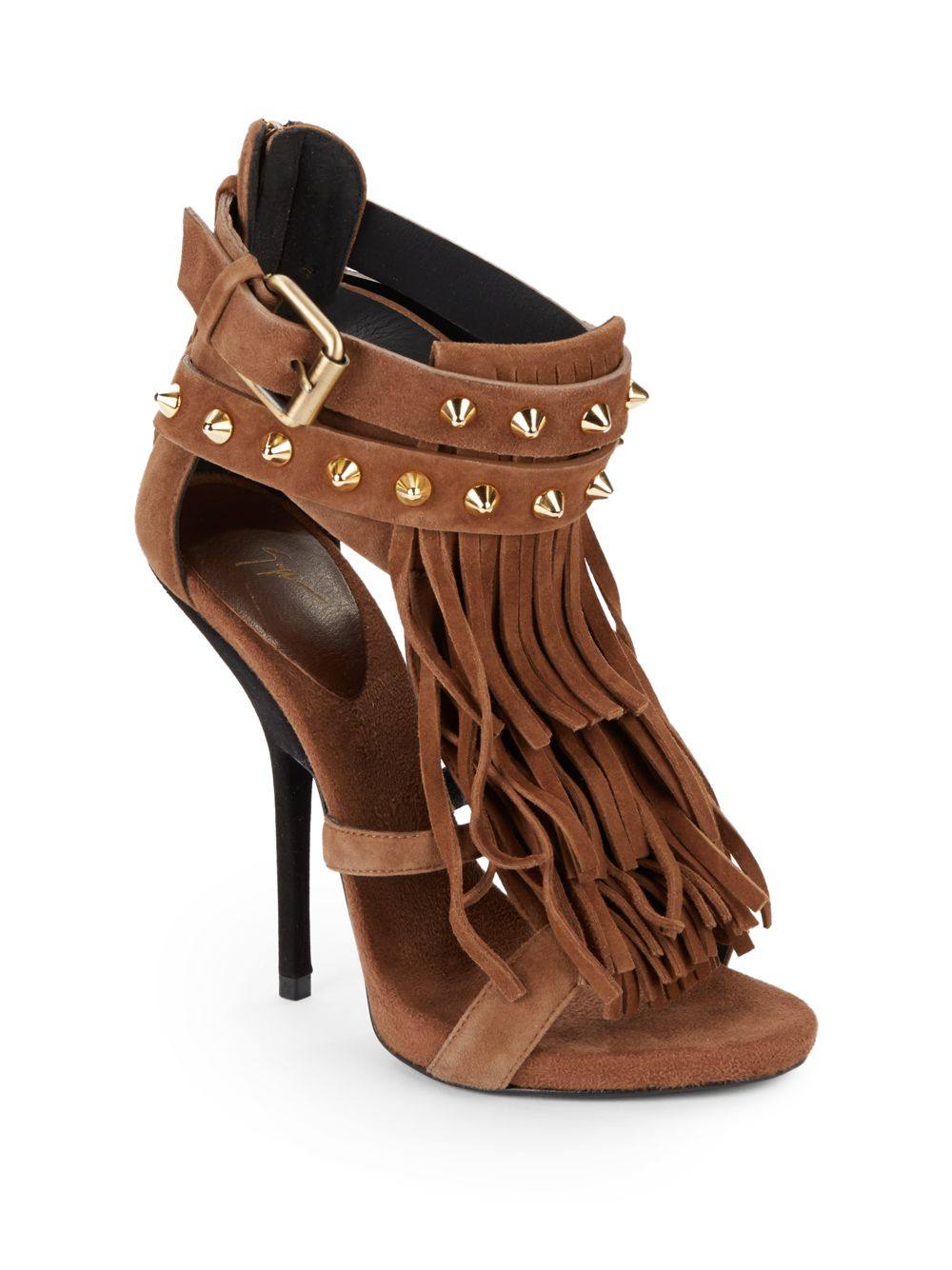 Lyst Giuseppe Zanotti Studded Suede Fringe Sandals In Brown