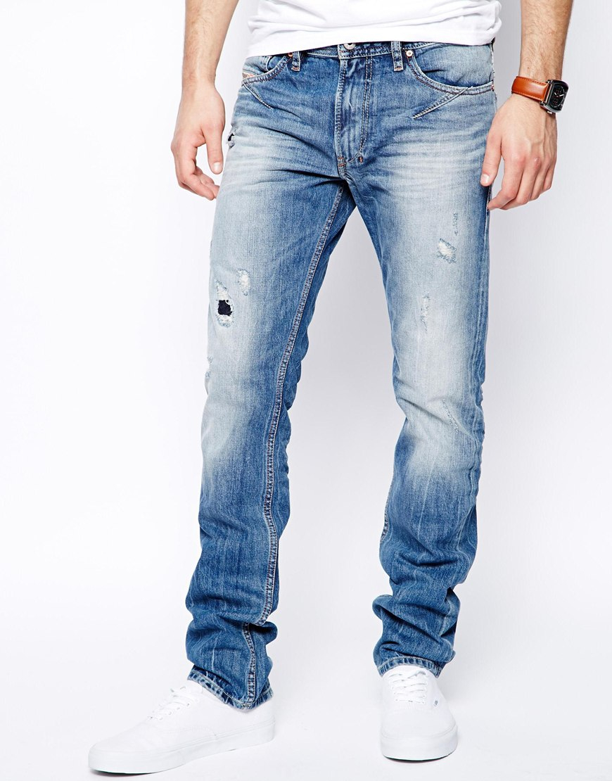 Diesel Jeans Shioner 823b Slim Fit Light Wash Destroy in Blue for