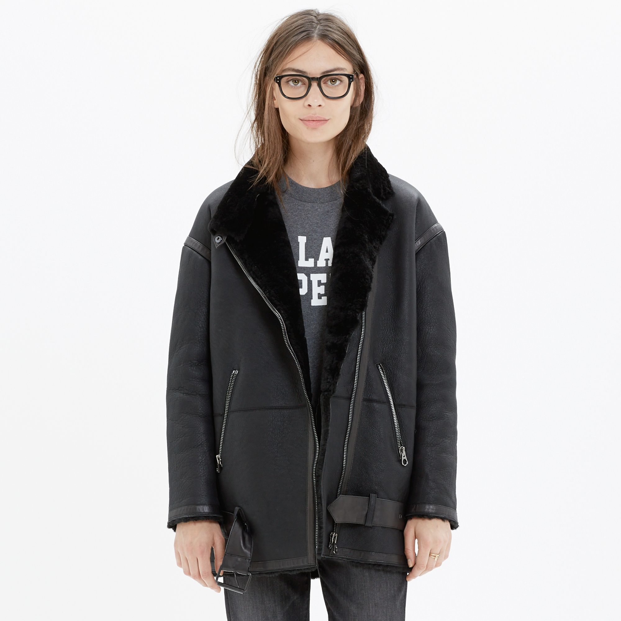 Madewell Shearling Bassline Coat in Black | Lyst