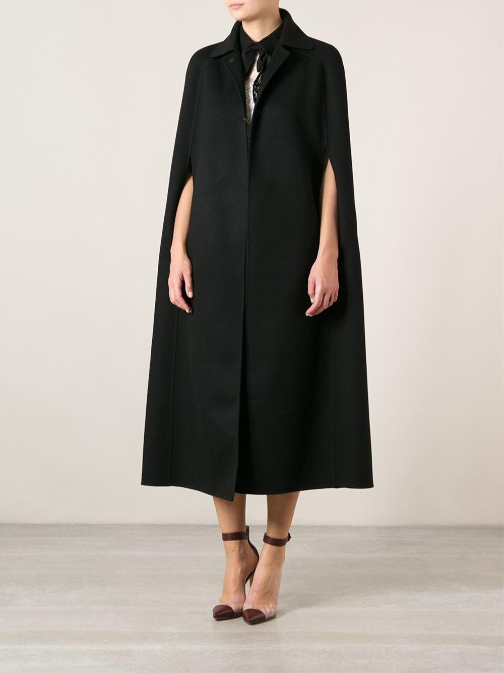 Valentino Cape Coat In Black Lyst