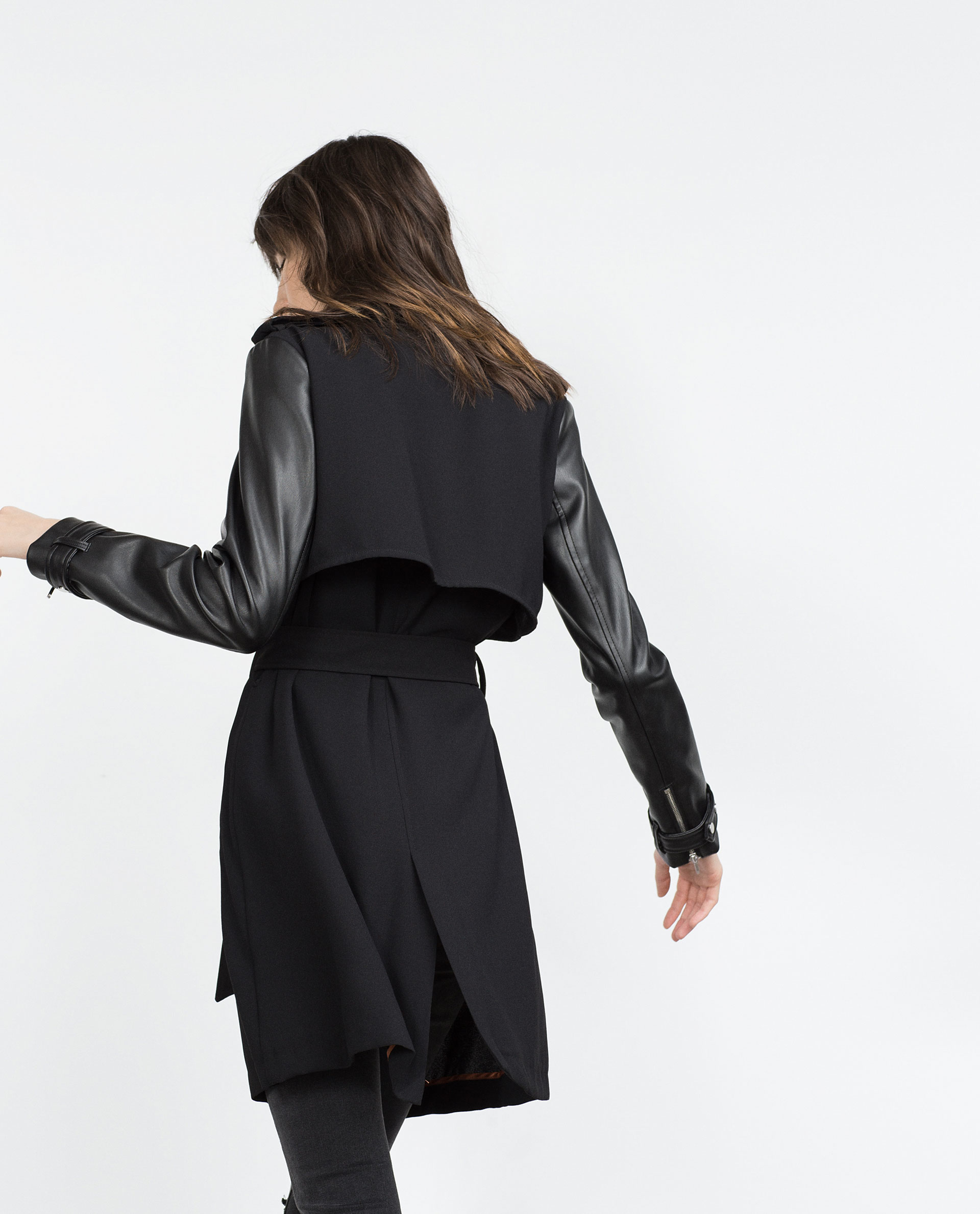 Zara Trench Coat With Faux Leather Sleeves in Black | Lyst