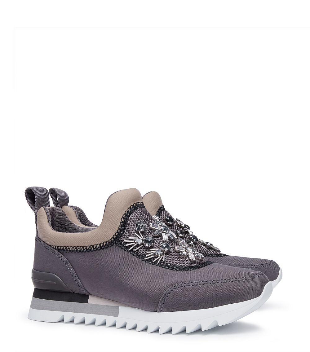 43e6e9adba6fd5 Tory Burch Rosas Embellished Sawtooth Slip-on Sneaker in Gray - Lyst