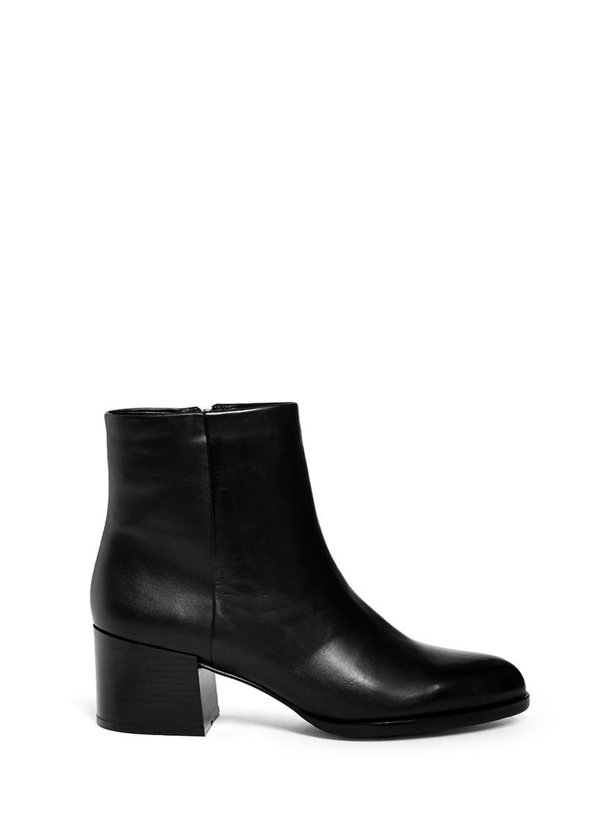 Sam Edelman Joey Side Zip Leather Boots In Black Lyst