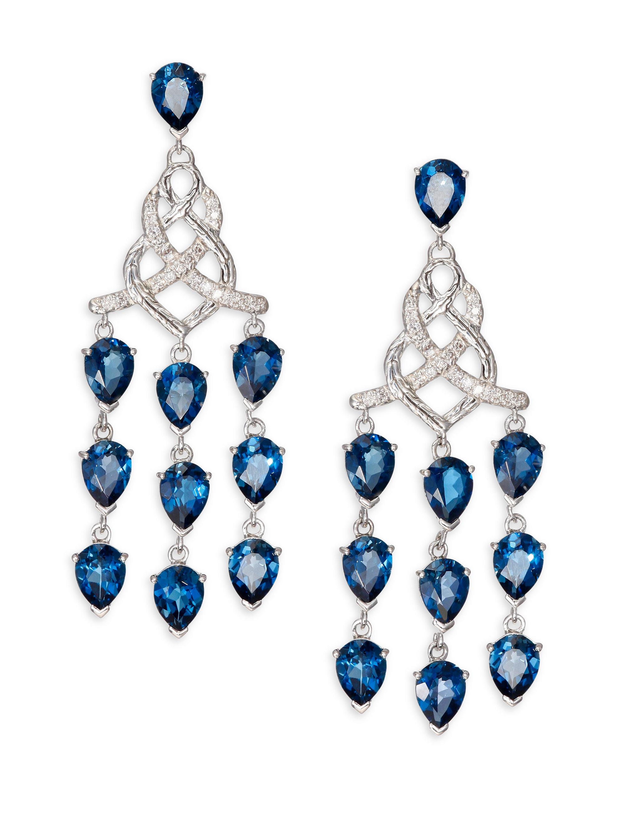 John hardy Classic Chain London Blue Topaz Diamond & Sterling