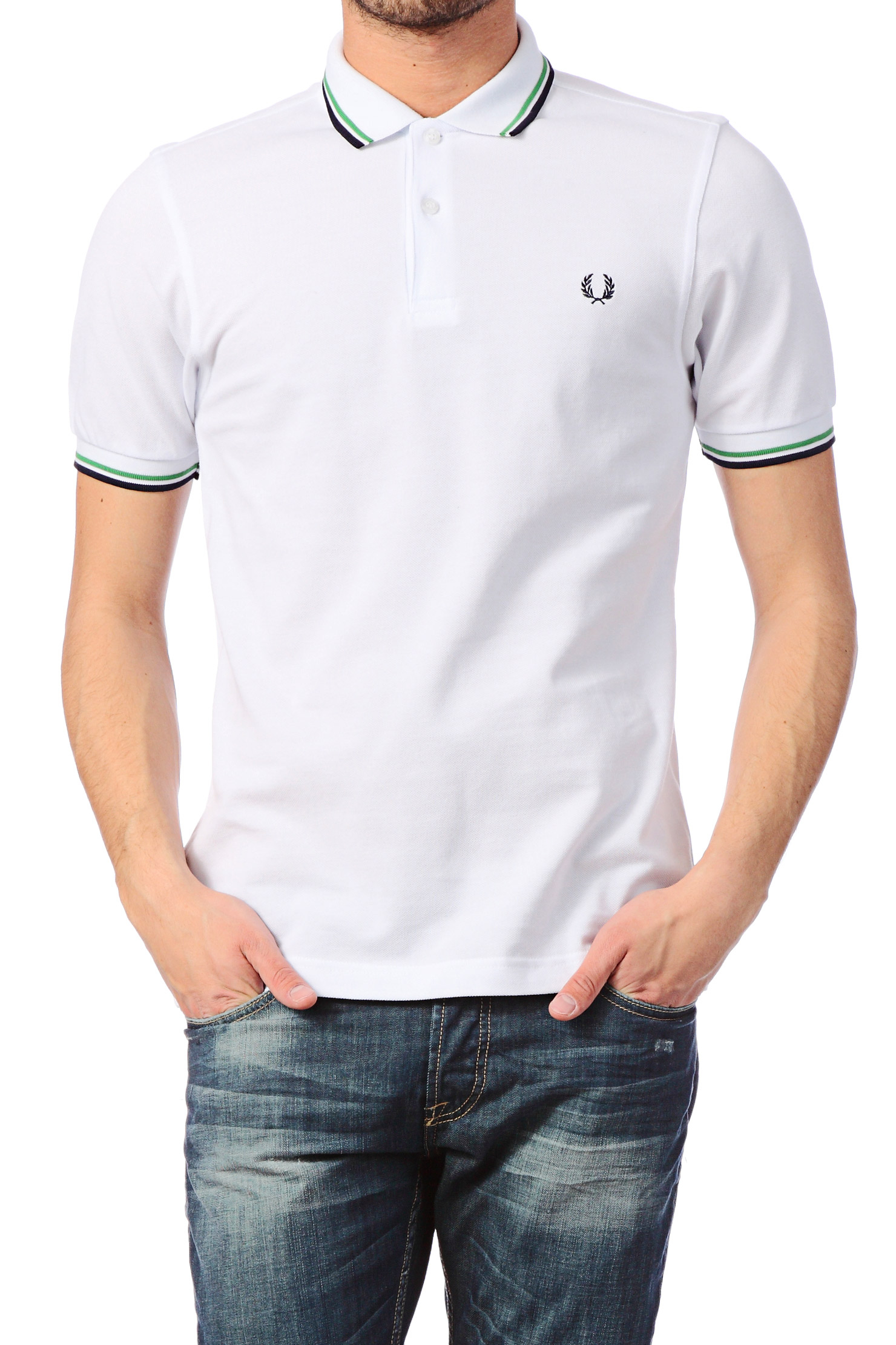 fred perry polo shirt slim fit twin tipped shirt in white for men lyst. Black Bedroom Furniture Sets. Home Design Ideas