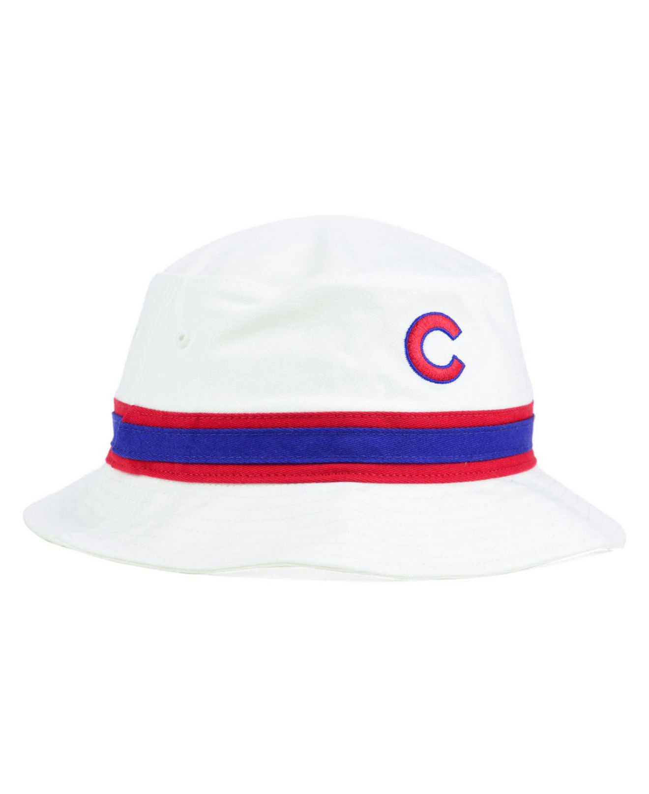 19c0dd3f485 ... cheap lyst 47 brand chicago cubs striped bucket hat in white 8b48e eec07