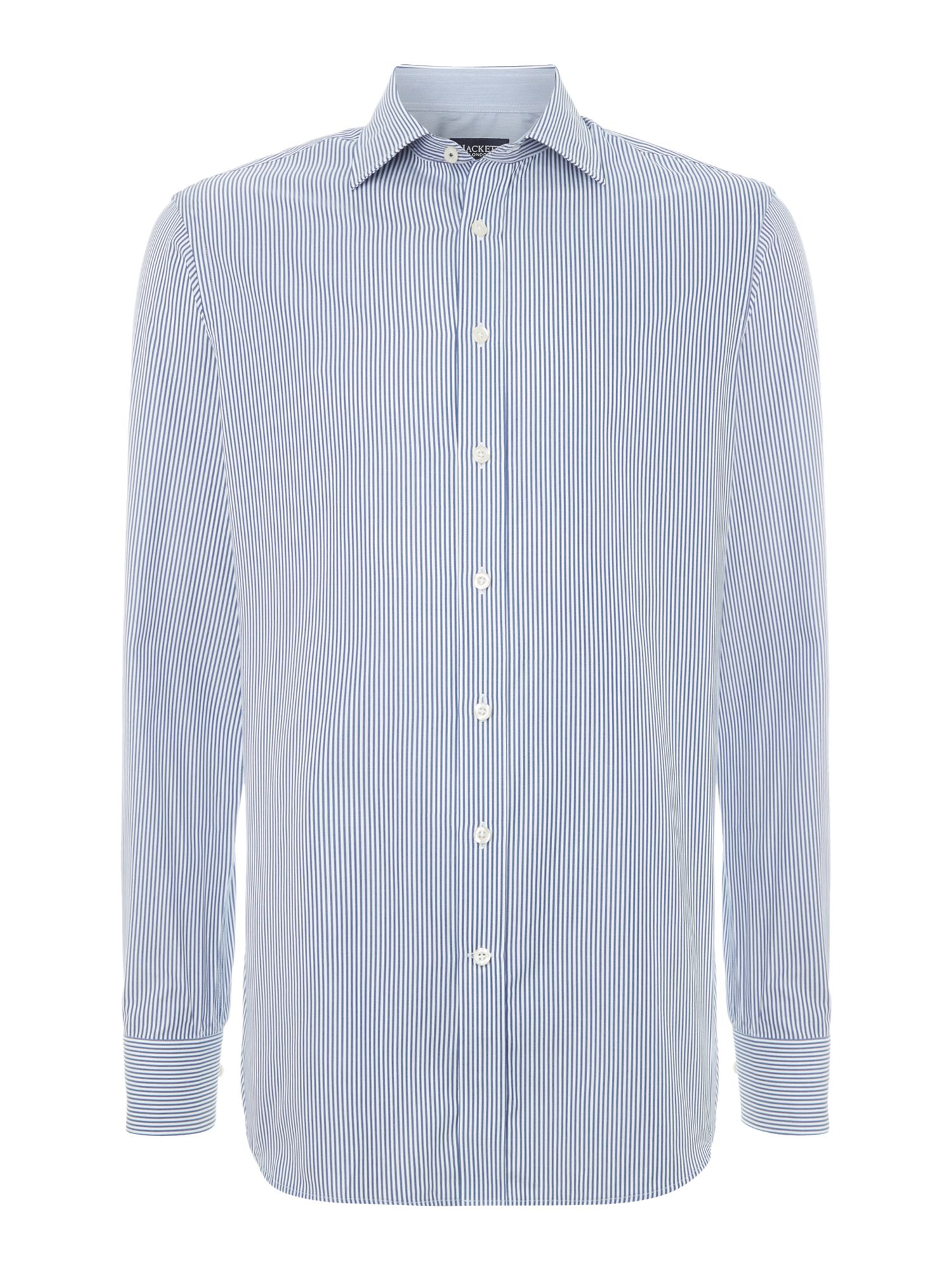 Hackett long sleeve stripe shirt in blue for men navy for Navy blue striped long sleeve shirt