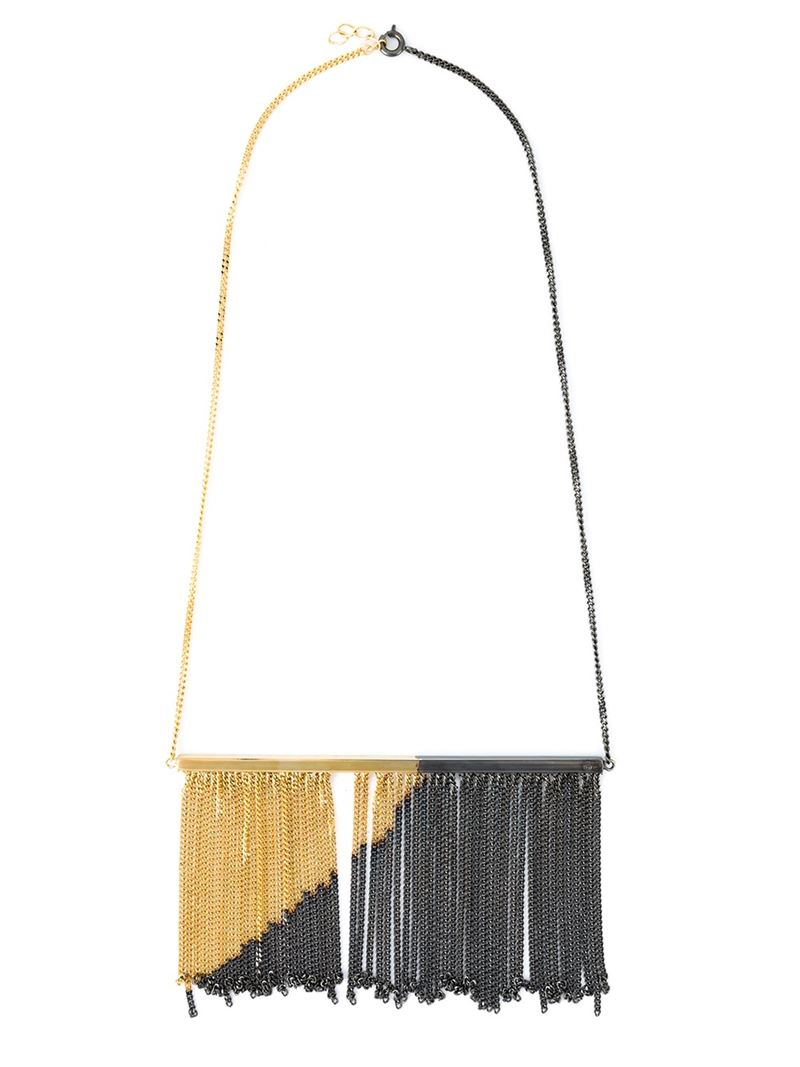 Lyst mm6 by maison martin margiela fringed necklace in for Mm6 maison margiela