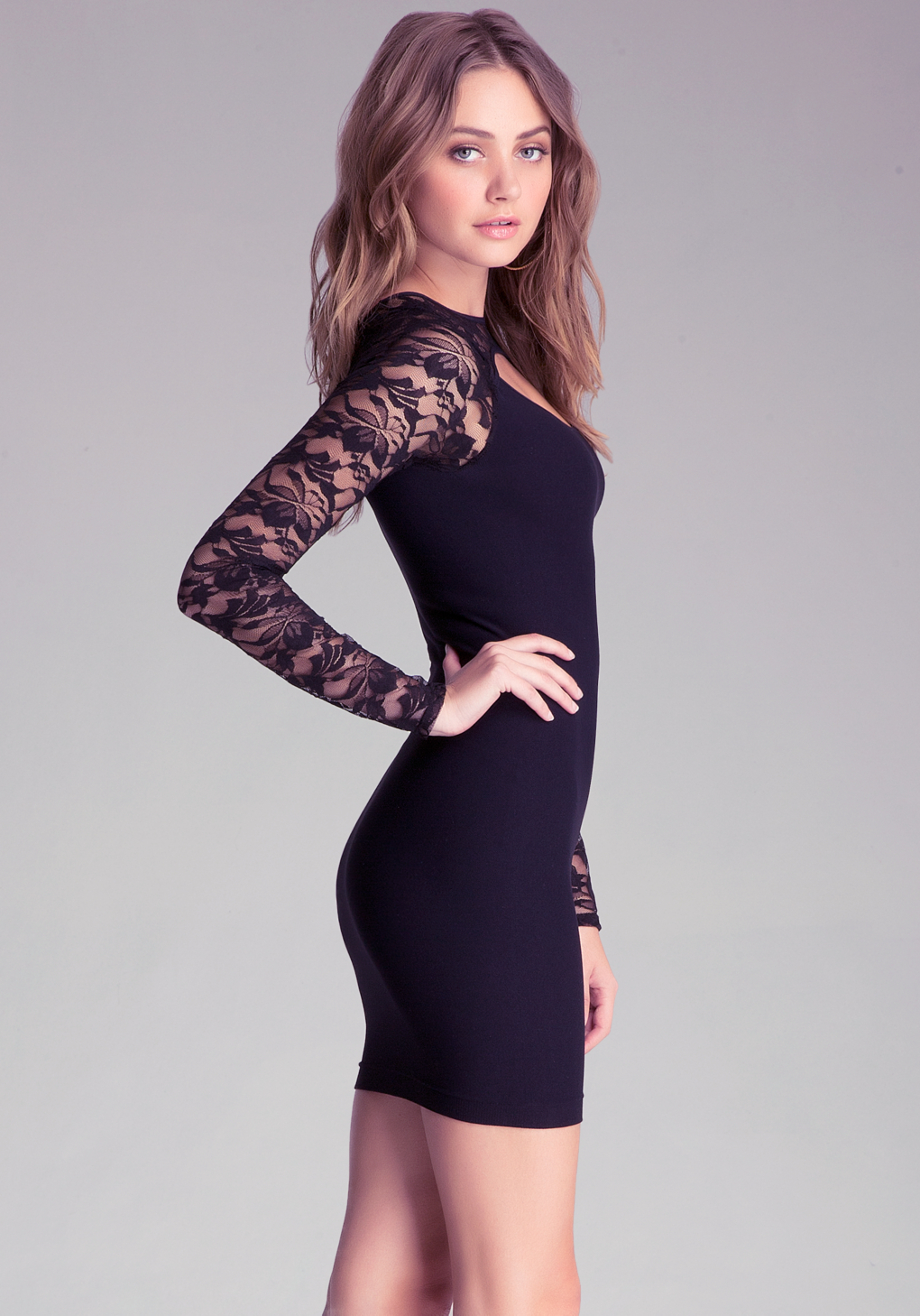 Bebe angelie peekaboo lace dress in black lyst for Bebe dresses wedding guest