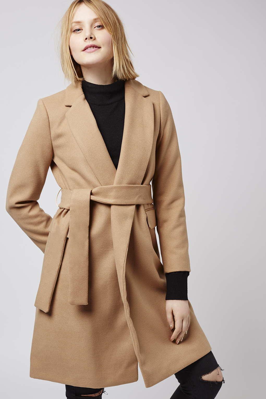 d44cd69c4054 TOPSHOP Petite Belted Coat in Natural - Lyst