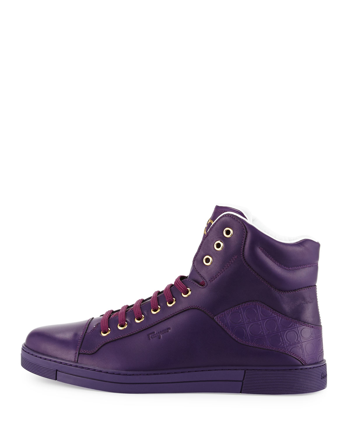 Ferragamo Neiman Marcus Ferragamo Stephen Calfskin High Top Sneaker Purple For Men Lyst
