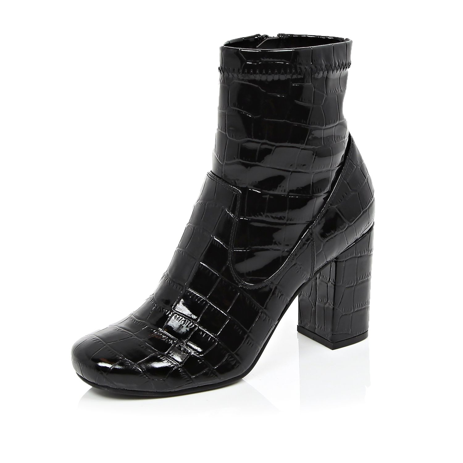 0d3ef6a7fe2b Lyst - River Island Black Patent Croc Heeled Ankle Boots in Black