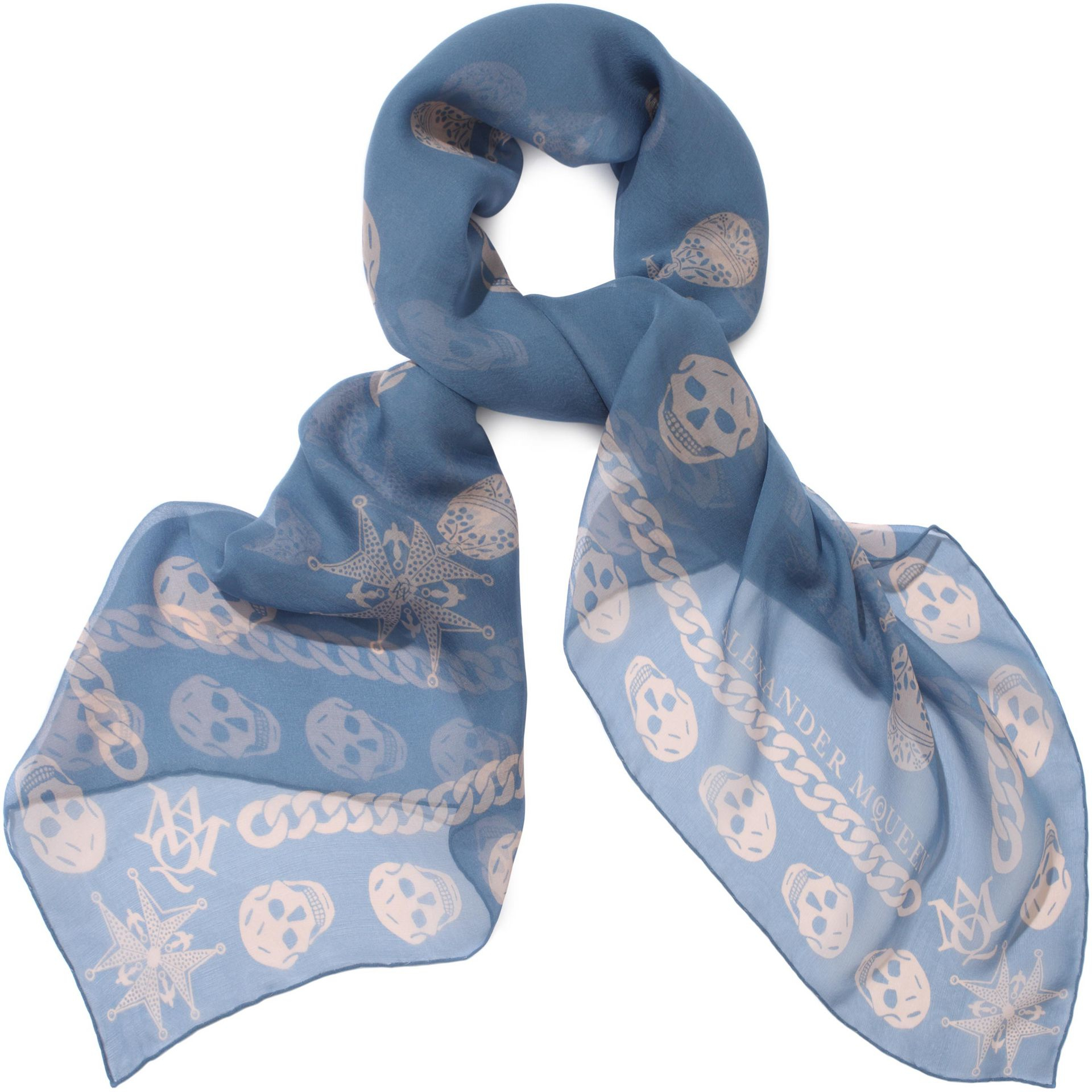 To acquire Mcqueen Alexander skull scarf blue pictures trends
