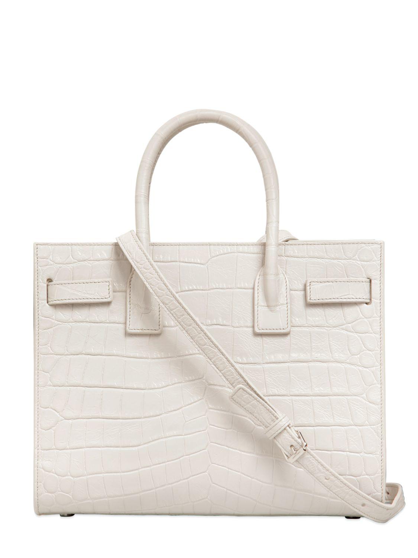 9f8280b6aa411 Saint Laurent Baby Sac De Jour Embossed Leather Bag in Natural - Lyst