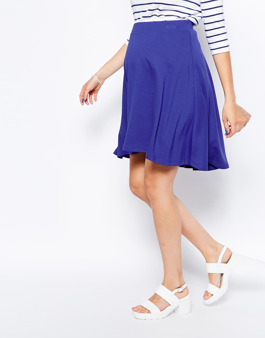 Asos Full Midi Skater Skirt in Blue | Lyst