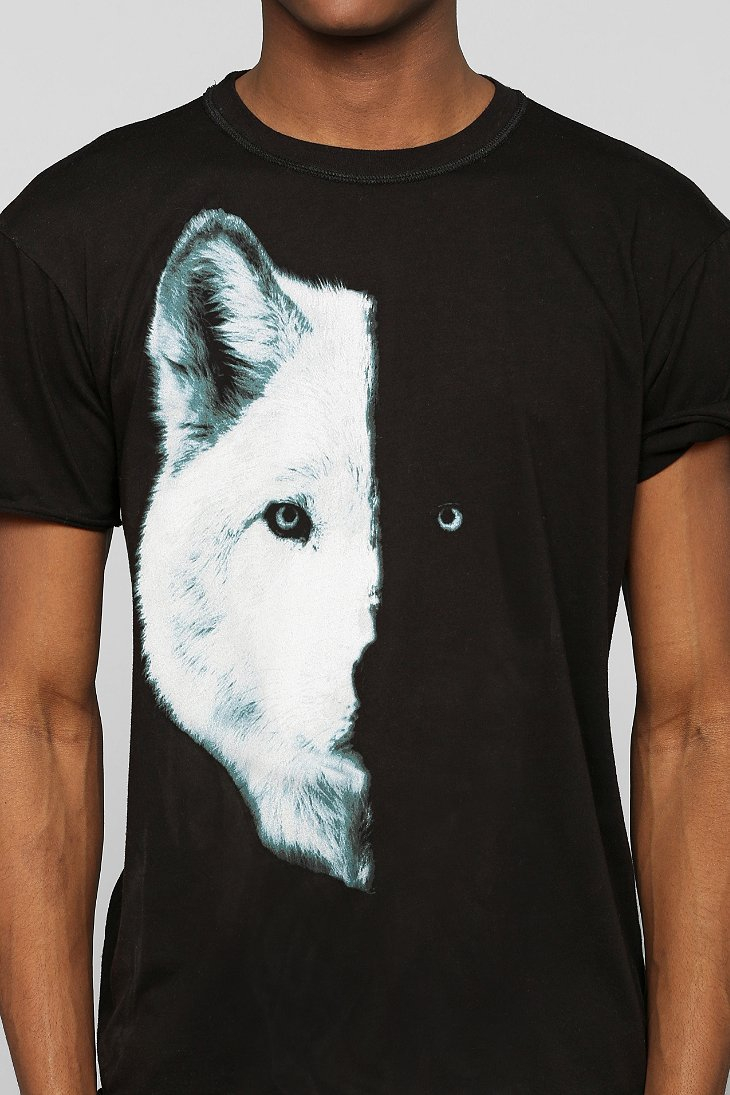 lyst urban outfitters midnight wolf tee in black for men. Black Bedroom Furniture Sets. Home Design Ideas