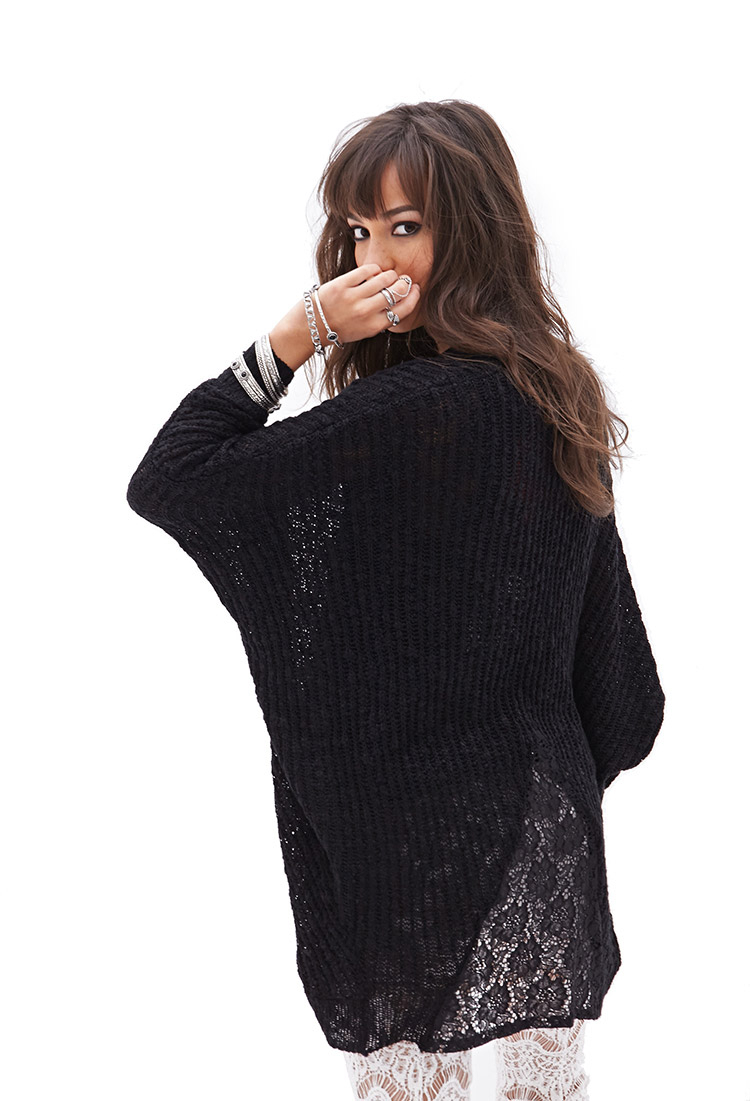Forever 21 Open-knit Batwing Cardigan in Black | Lyst