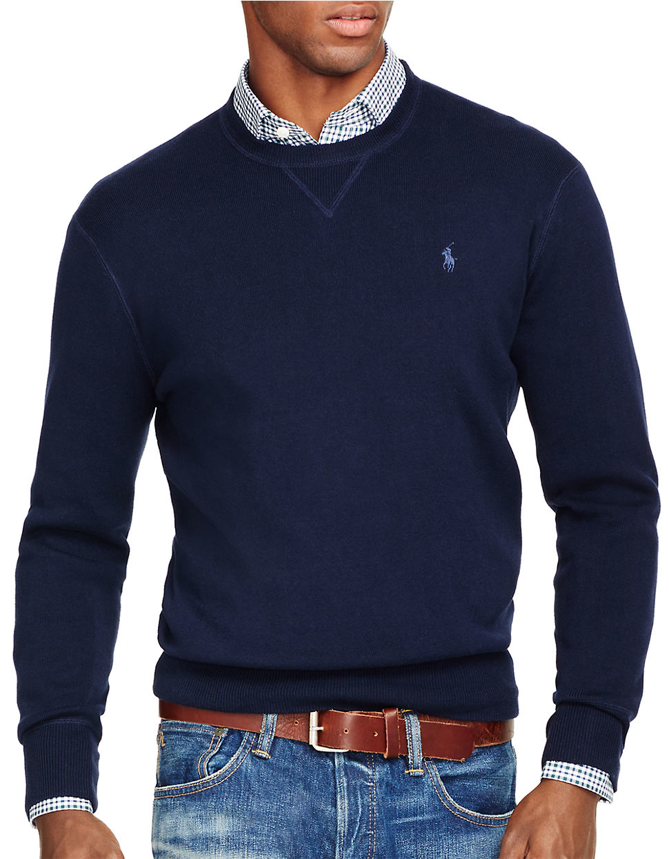polo ralph lauren crewneck sweatshirt in blue for men lyst. Black Bedroom Furniture Sets. Home Design Ideas