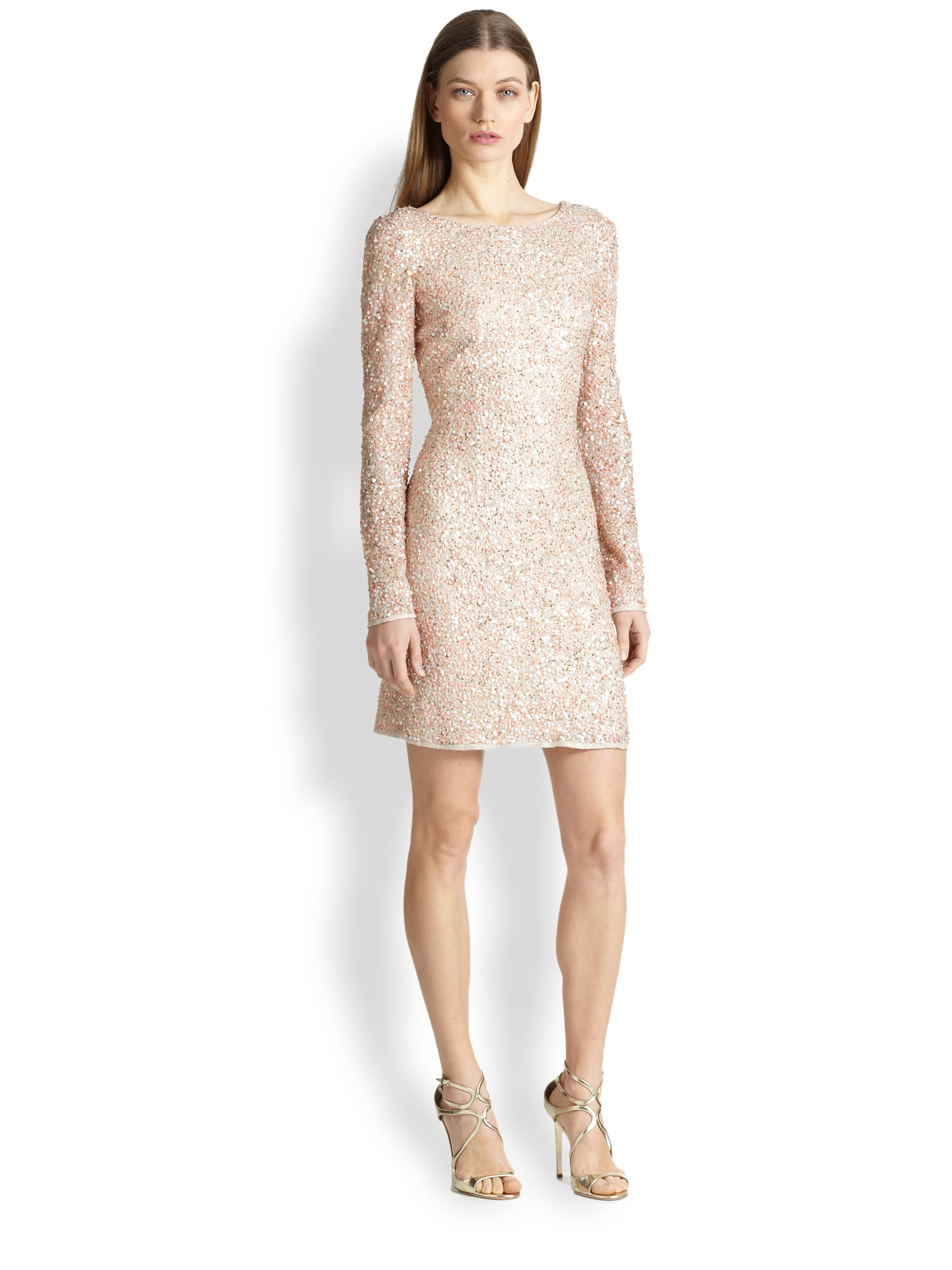 Aidan mattox long sleeve sheath dress