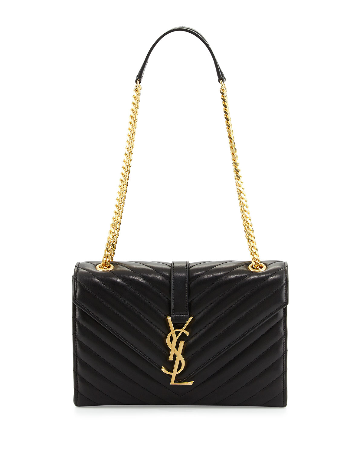saint laurent monogramme medium shoulder bag in black lyst. Black Bedroom Furniture Sets. Home Design Ideas